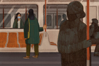 Illustration of a woman on the subway in a mask looking suspiciously at another masked passenger.