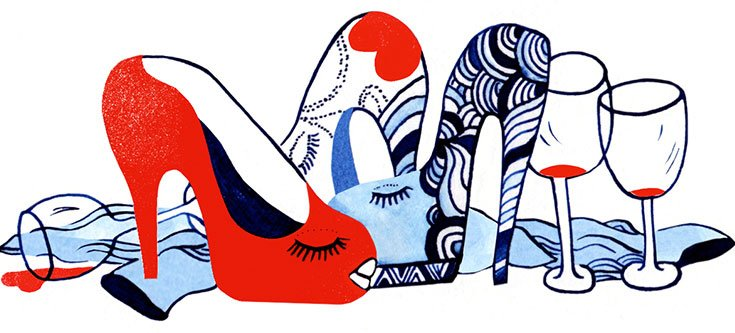 A drawing of shoes and wine glasses with colourful patterns on them