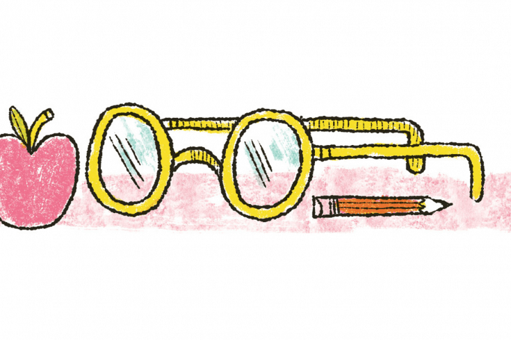 An apple, glasses and a pencil