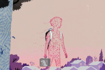 A child's silhouette, composed of small red dots that resemble measles or chicken pox, walks through an empty neighbourhood trailing germs.