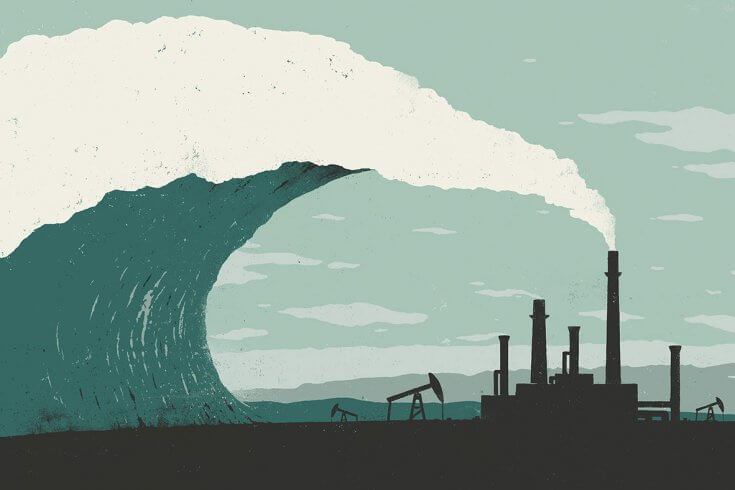 Wave about to crash into a refinery
