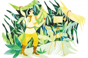illustration of man in forest