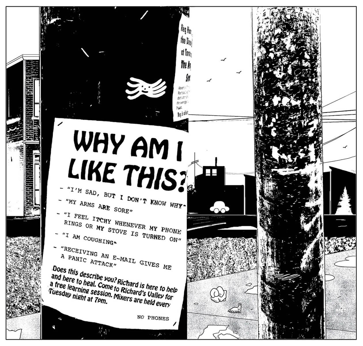 "An illustration of a poster that reads ""Why am I like this?"" stapled to on a pole"