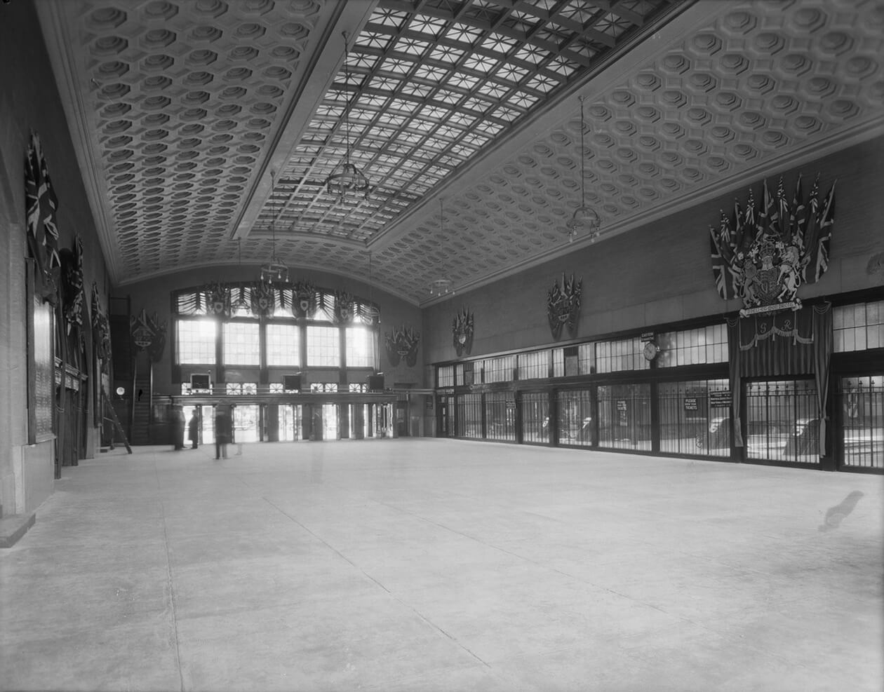 A 1939 view of a large empty concourse.