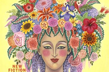 A drawing of a woman with floral patterns around her