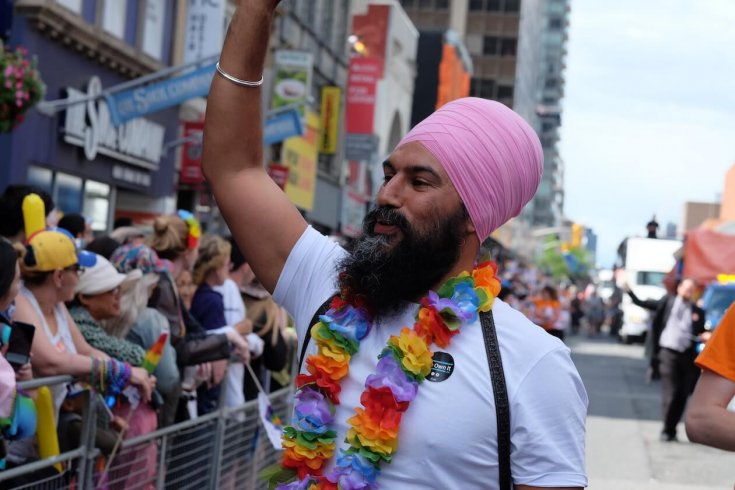 Jagmeet Singh marching at the Pride Parade