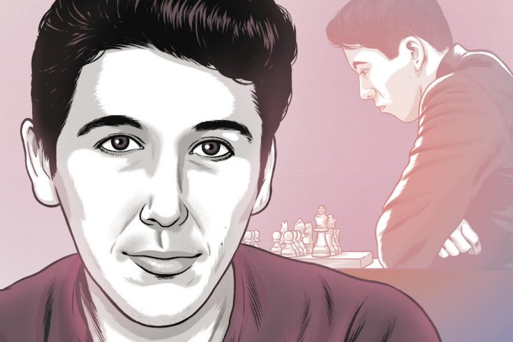 illustration of man with him playing chess in the background