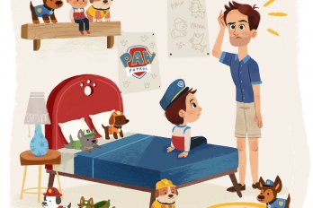 Illustration of a child with a bunch of paw patrol merchandise