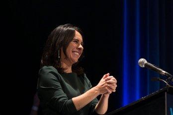 Woman speaking at Walrus Talks
