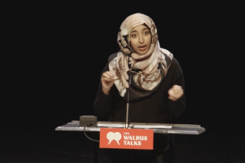 Woman Speaking at Walrus Talks event