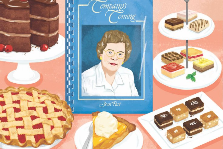 illustration of a cookbook called company's coming beside many different desserts