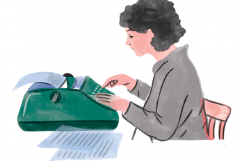 Illustration of a woman using a typewriter