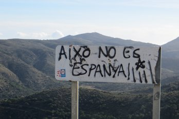 "Graffiti in Catalonia reads ""This is not Spain."""