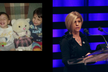 Woman speaking at walrus talks with photograph of children