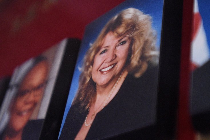 A picture of Senator Lynn Beyak accompanies other Senators official portraits on a display outside the Senate on Parliament Hill in Ottawa on Thursday, Sept. 21, 2017.