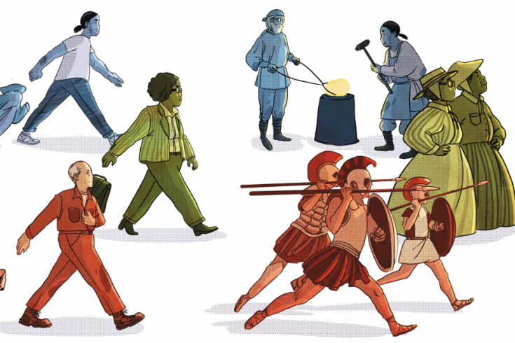 Illustration Showing People Wearing a Variety of Historical Outfits