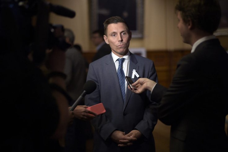 Patrick Brown, former leader of the Progressive Conservative Party of Ontario is photographed during a scrum at the Ontario legislature in 2016.