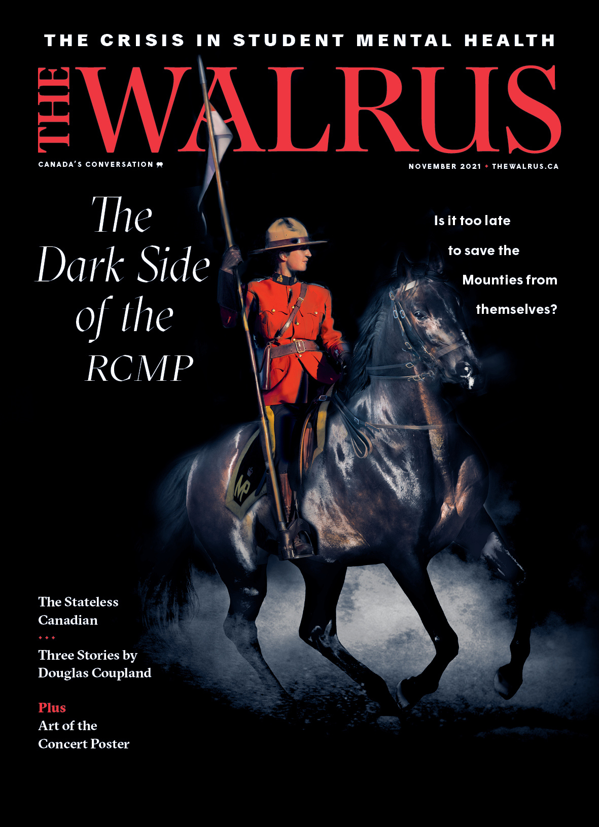 Cover of the Nov issue of The Walrus magazine.
