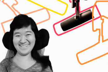Black and white photo of Dianna Hu over a template of The Conversation Piece podcast featuring a mic and outlines of other mics.