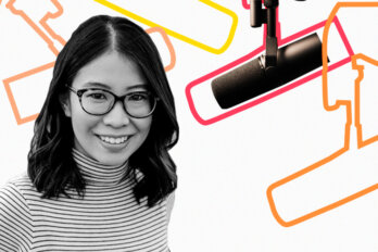 Black and white photo of Ann Hui over a template of The Conversation Piece podcast featuring a mic and outlines of other mics.
