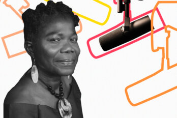 Black and white photo of Philomina Okeke-Ihejirika over a template of The Conversation Piece podcast featuring a mic and outlines of other mics.