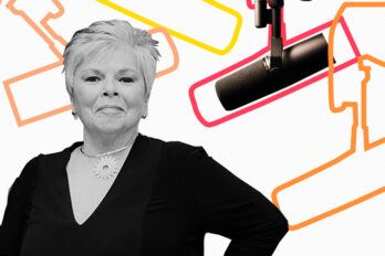 Black and white photo of Roberta Jamieson over a template of The Conversation Piece podcast featuring a mic and outlines of other mics.