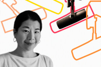 Black and white photo of Wency Leung over a template of The Conversation Piece podcast featuring a mic and outlines of other mics.