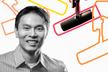 Black and white photo of Steve Shih over a template of The Conversation Piece podcast featuring a mic and outlines of other mics.