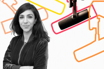 Black and white photo of Prerna Singh over a template of The Conversation Piece podcast featuring a mic and outlines of other mics.