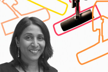 Black and white photo of Vinita Srivastava over a template of The Conversation Piece podcast featuring a mic and outlines of other mics.