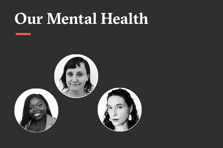 Article Club promotional image on a dark grey background with the words Our Mental Health in white and three black and white photos of the participants.