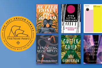 Image of the 2021 Amazon First Novel Award shortlist featuring the AFNA logo in gold and the book covers for the six shortlisted novels on a blue background.