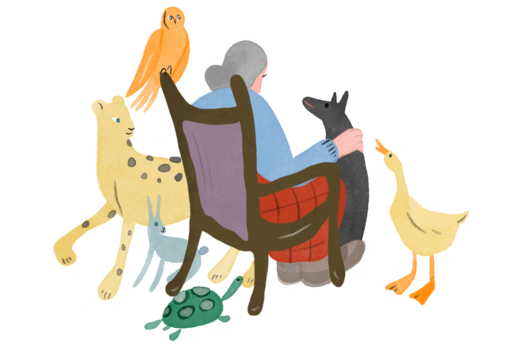 Illustration of an elderly woman sitting in a chair with her back to the viewer. She is surrounded by animals––an owl, a leopard, a turtle, a goose, and a dog, which she pets while it sits at her feet.