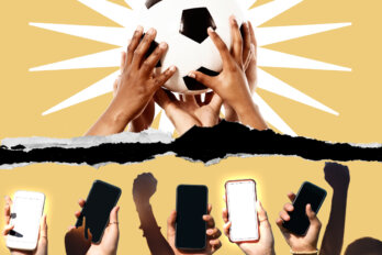 Above: Hands holding up a soccer ball. Below: Hands holding up phones