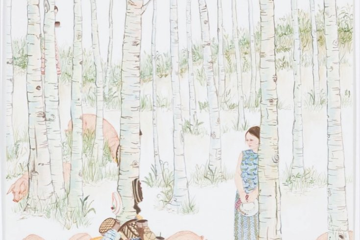 illustration of a woman in the woods with animals