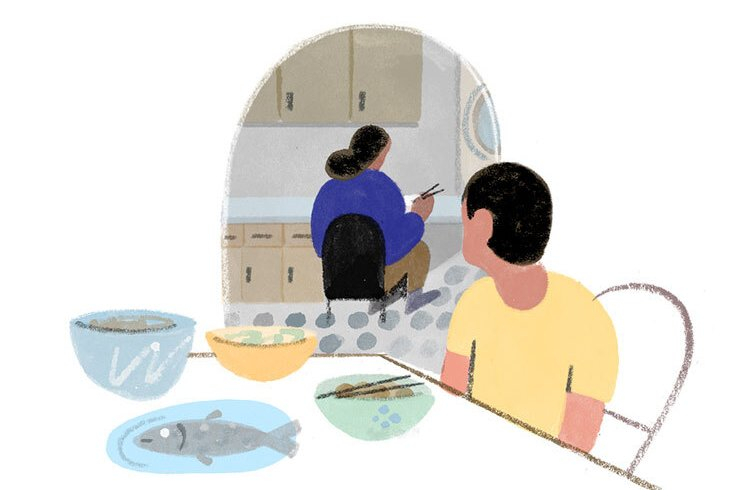 Illustration of a person sitting at a table, turning his head to watch a woman in the kitchen.