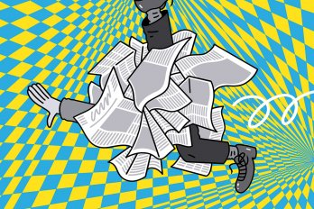Illustration of a cluster of crumpled newspapers, out of which protrudes a person's arm and two legs. The background is blue and yellow checkers.