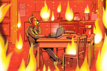 Illustration of a kitchen on fire, with a man sitting at the kitchen table, holding a phone to his ear, with a laptop in front of him.