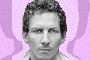 A black-and-white portrait of a man against a pink and purple background