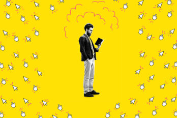 A black and white photo of a man looking down at an open book surrounded by illustrated mouse cursors pointing away on a bright yellow background.