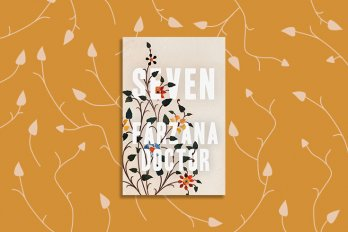 The cover of Farzana Doctor's book, Seven, against an orange background with a pattern resembling vines.