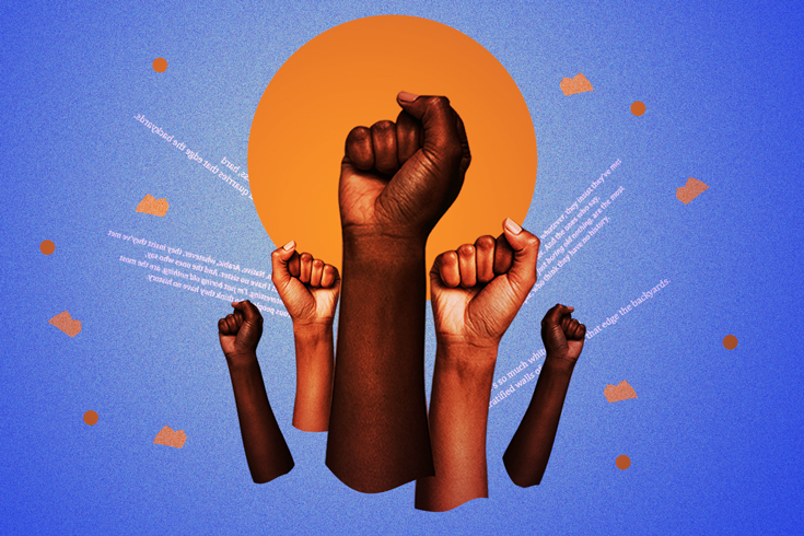 Five arms held up with their hands in the form of a fist, as to stand for solidarity. An orange circle sits in the middle of the photo with a blue background