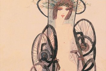 woman with bicycle tires around her body