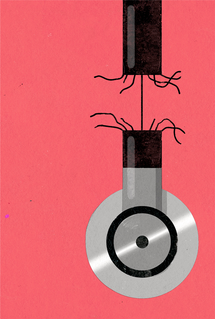 Illustration of a stethoscope hanging from a fraying cord and hanging by a thread, against a bright pink background.
