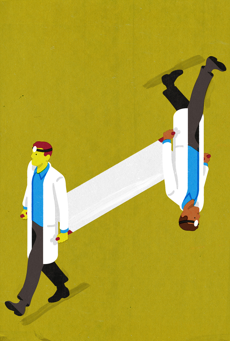 Illustration of two white-coated doctors holding a gurney between them and walking in opposite directions. One of the doctors is upside down.