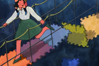 Illustration of a woman running across a suspension bridge, carrying a child on her back. The bridge is made of puzzle-like pieces that are falling away behind her.