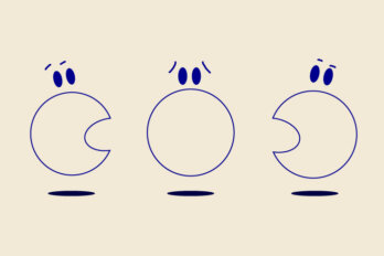 Three cartoon faces speaking. One in the middle with a closed mouth appears worried
