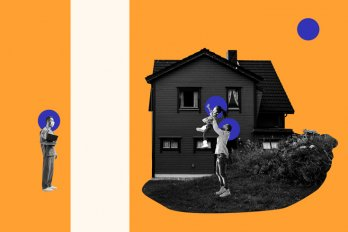 Illustration of a doctor watching a house with a parent and child playing in the yard. A blank space separates the doctor from the house. The background is bright orange.