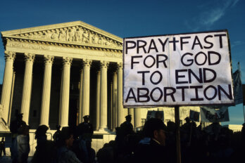 Photograph of anti-abortion protestors at the Supreme Court