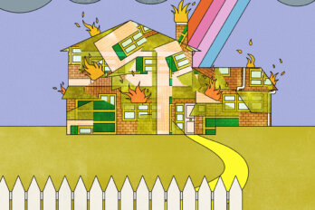 An illustration of a house with a white picket fence in front of it but a strom cloud overhead and a rainbow coming out of it.